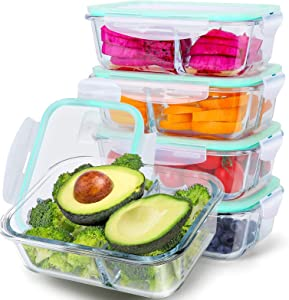 5 Pack Glass Meal Prep Containers 3 Compartments Food Prep Containers 35 oz Bento Box Glass Food Storage Containers Airtight With Lids Glass Lunch Containers Glass Containers For Food Storage