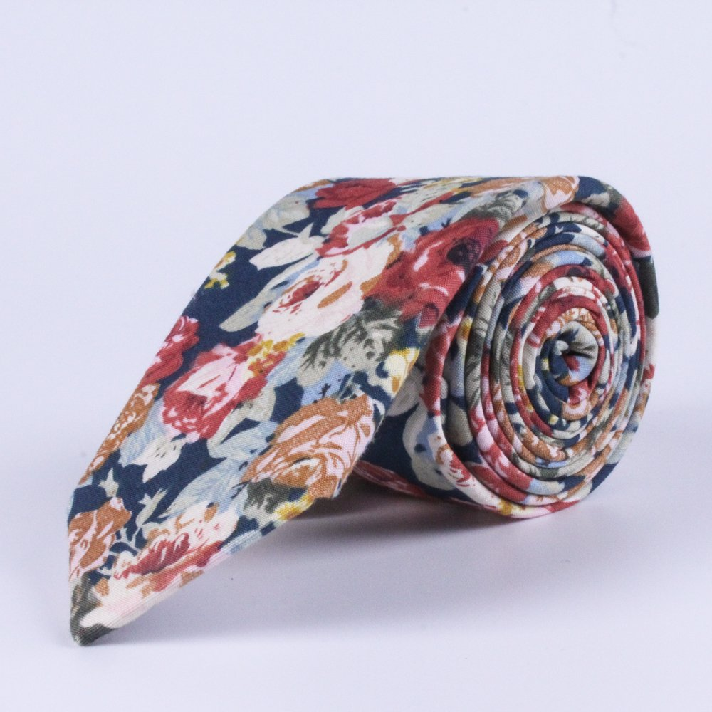 FAVties Men's Skinny Tie Fashion Causal Cotton Floral Printed Necktie