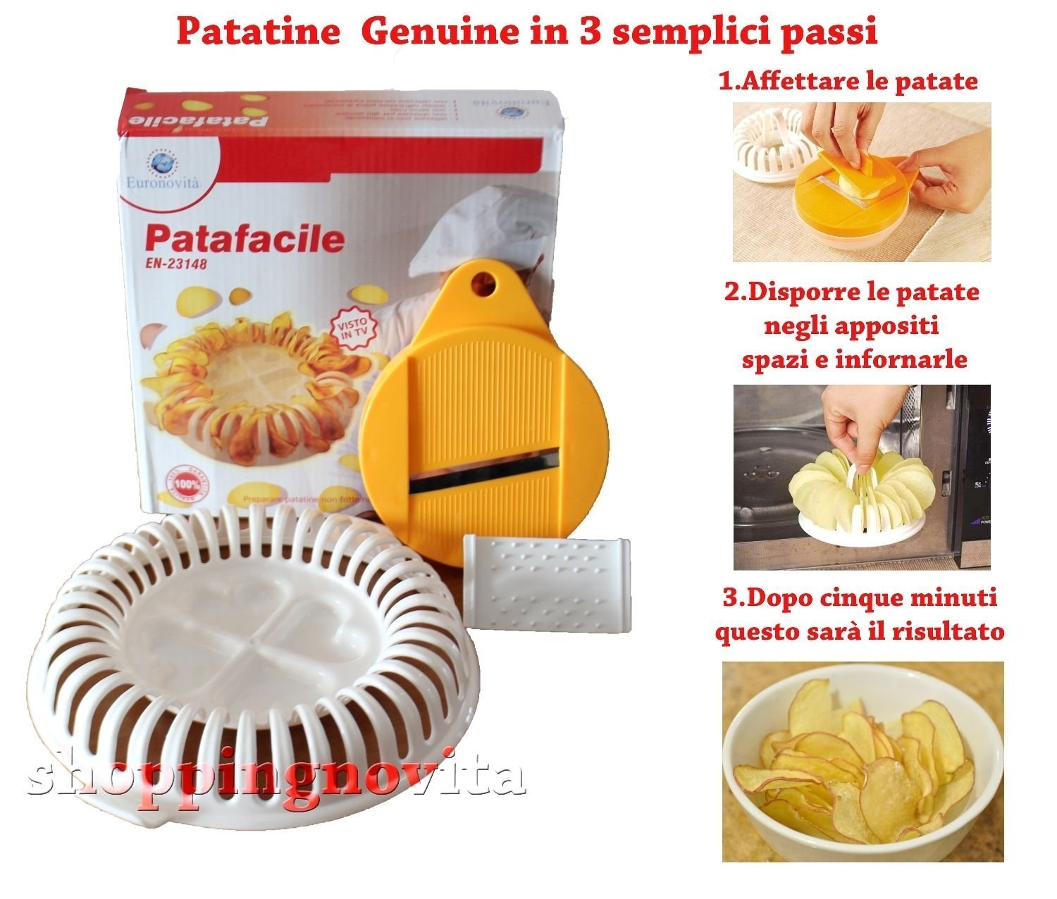 Euronovità Patafacile, Tool for Making Chips Chips Without Oils or Fat in Microwave Euronovità Srl EN-23148