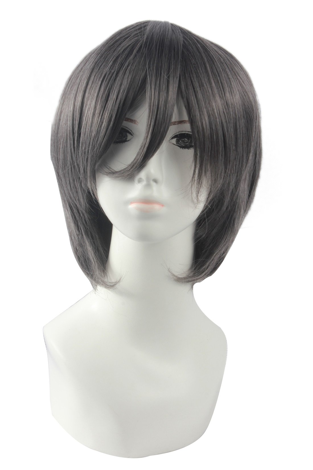 Icoser Anime Cosplay Party Wigs for Halloween Short Green Synthetic Hair 12'' 190g (Gray) by i-coser (Image #1)