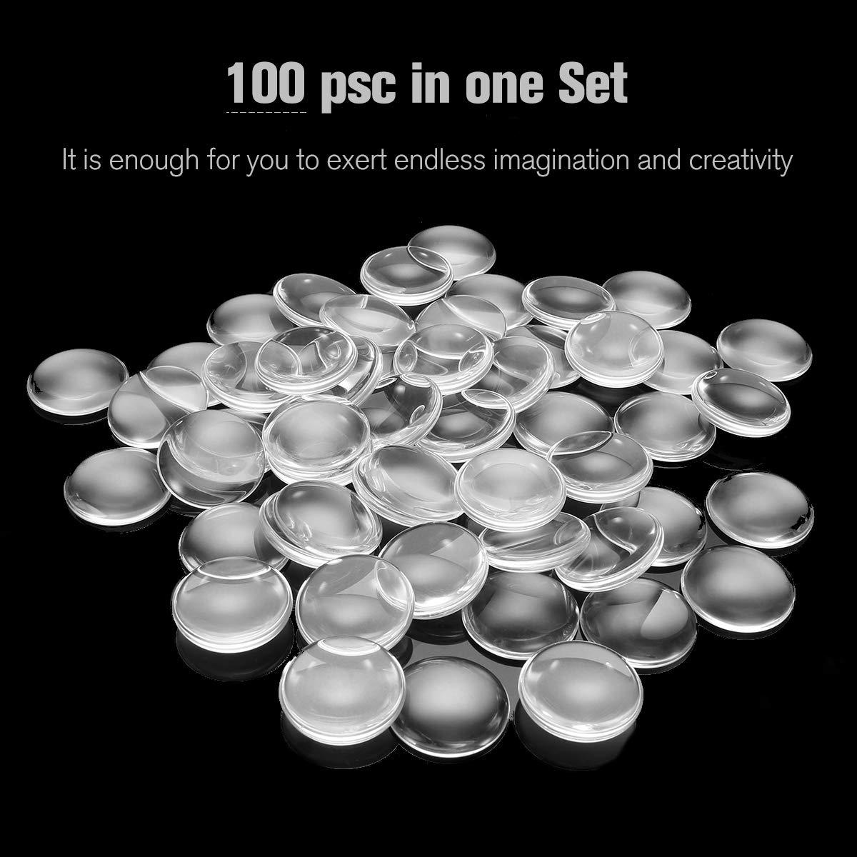 Jeteven 100pcs Glas Cabochon Set rund, Crystal Cabochon rohlinge, Flat Back Glaskuppel, DIY Schmuck Basteln Schmuckherstellung Set 25mm