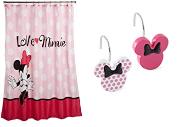 Disney Minnie Mouse Rideau de douche, douche et crochet Bundle ...