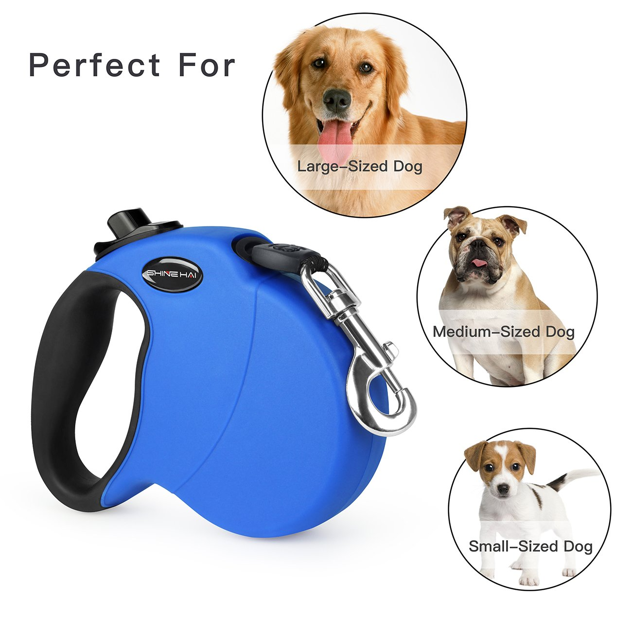 SHINE HAI Retractable Dog Leash, 16ft Dog Walking Leash for Large Medium Small Dog Up to 110lbs, Break & Lock System, Reflective Ribbon Cord, Blue by SHINE HAI (Image #4)