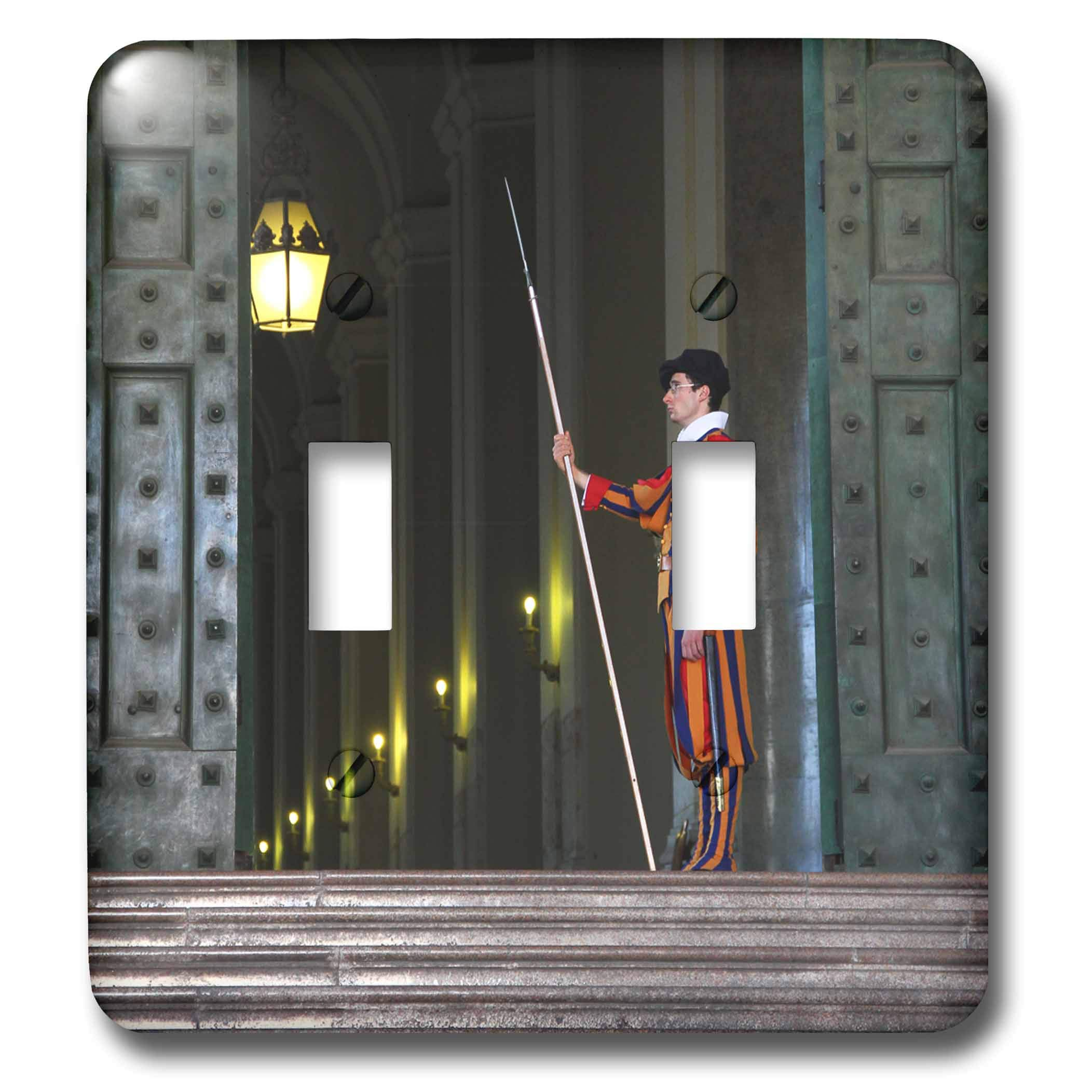 3dRose Elysium Photography - Portrait - Swiss guard on duty, Vatican City - Light Switch Covers - double toggle switch (lsp_289614_2)