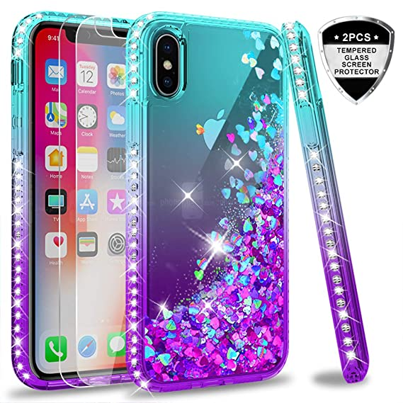 competitive price 7f189 f118f iPhone X Case, iPhone Xs Case with Tempered Glass Screen Protector [2 Pack]  for Girls Women, LeYi Glitter Liquid Cute Clear TPU Phone Case for Apple ...