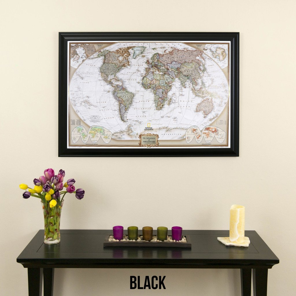 Amazon executive world push pin travel map with black frame and amazon executive world push pin travel map with black frame and pins 24 x 36 posters prints gumiabroncs Image collections