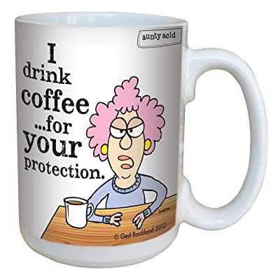 Hilarious Aunty Acid for Your Protection Large Coffee Mug, 15-Ounce Cup lm43796 - Funny, Unique Gifts for Coffee Lovers, Office - Tree-Free Greetings