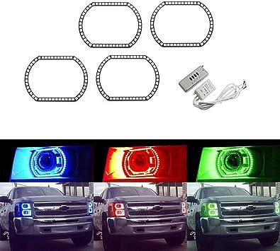 RGB Halo Rings LED SMD Angel Eyes Kit Multi-Colors For Chevrolet Chevy Silverado
