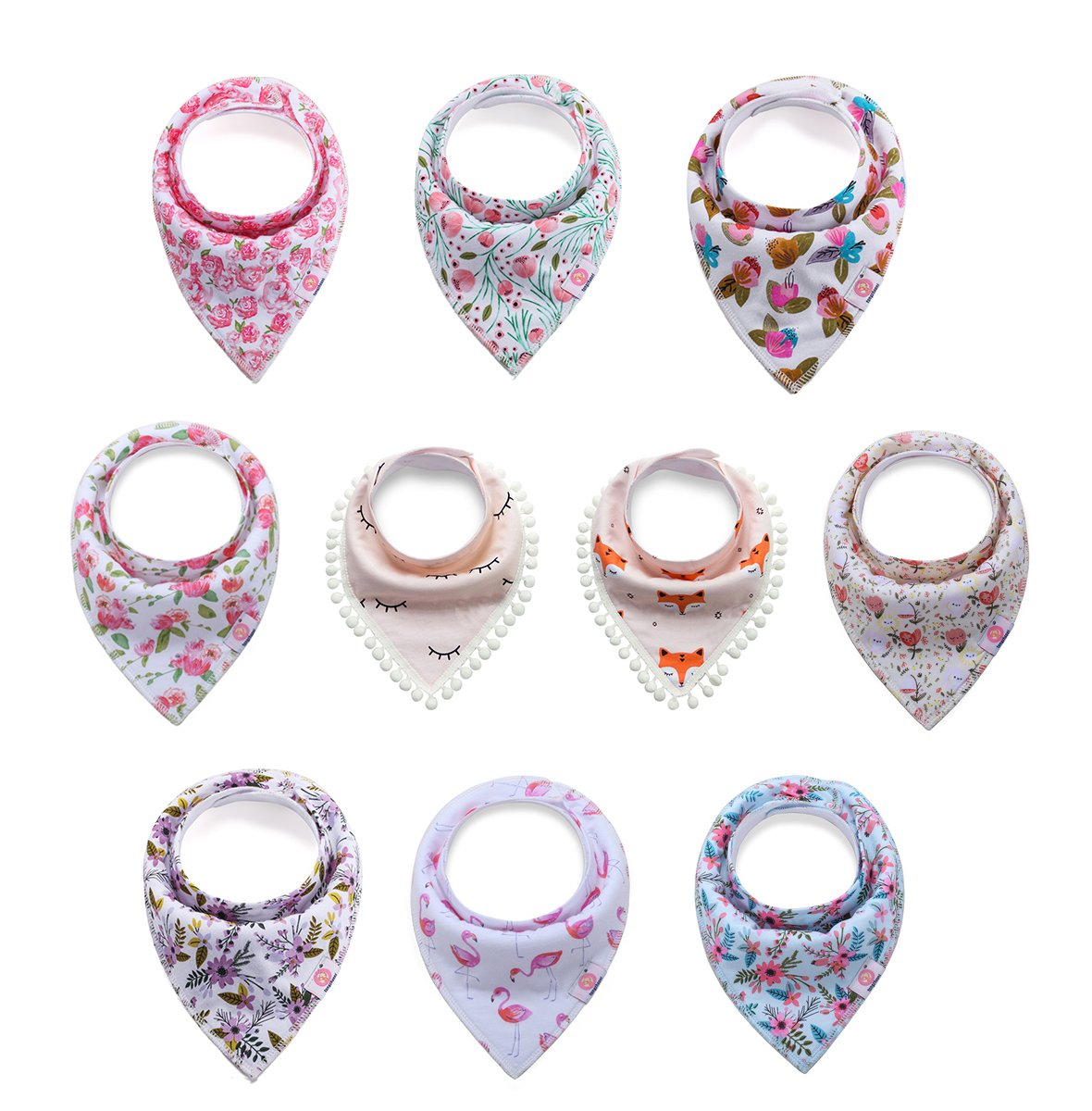 10 Pack Baby Girls Organic Cotton Bandana Drool Bibs for Drooling and Teething, Soft and Absorbent by Litchi Baby