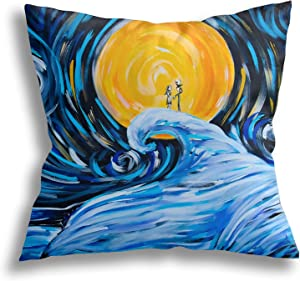 JANBOR Throw Pillow Covers, Nightmare Before Christmas Decorative Square Pillow Case Cushion Cover for Home Car Decor 18 X 18 Inch