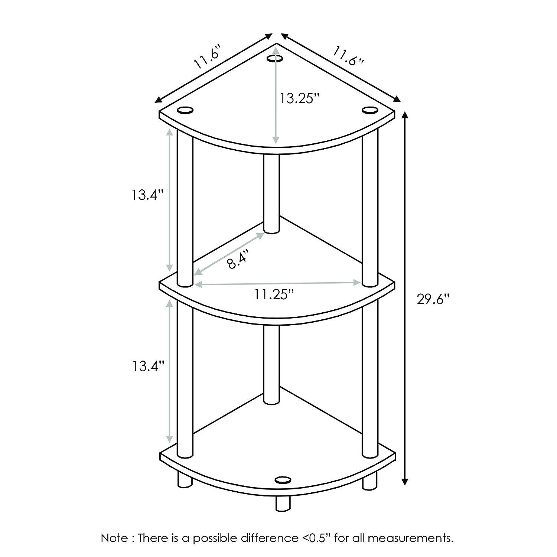 Furinno 12077GYW BK Turn-N-Tube 3-Tier Corner Multipurpose Shelf, French Oak Grey Black