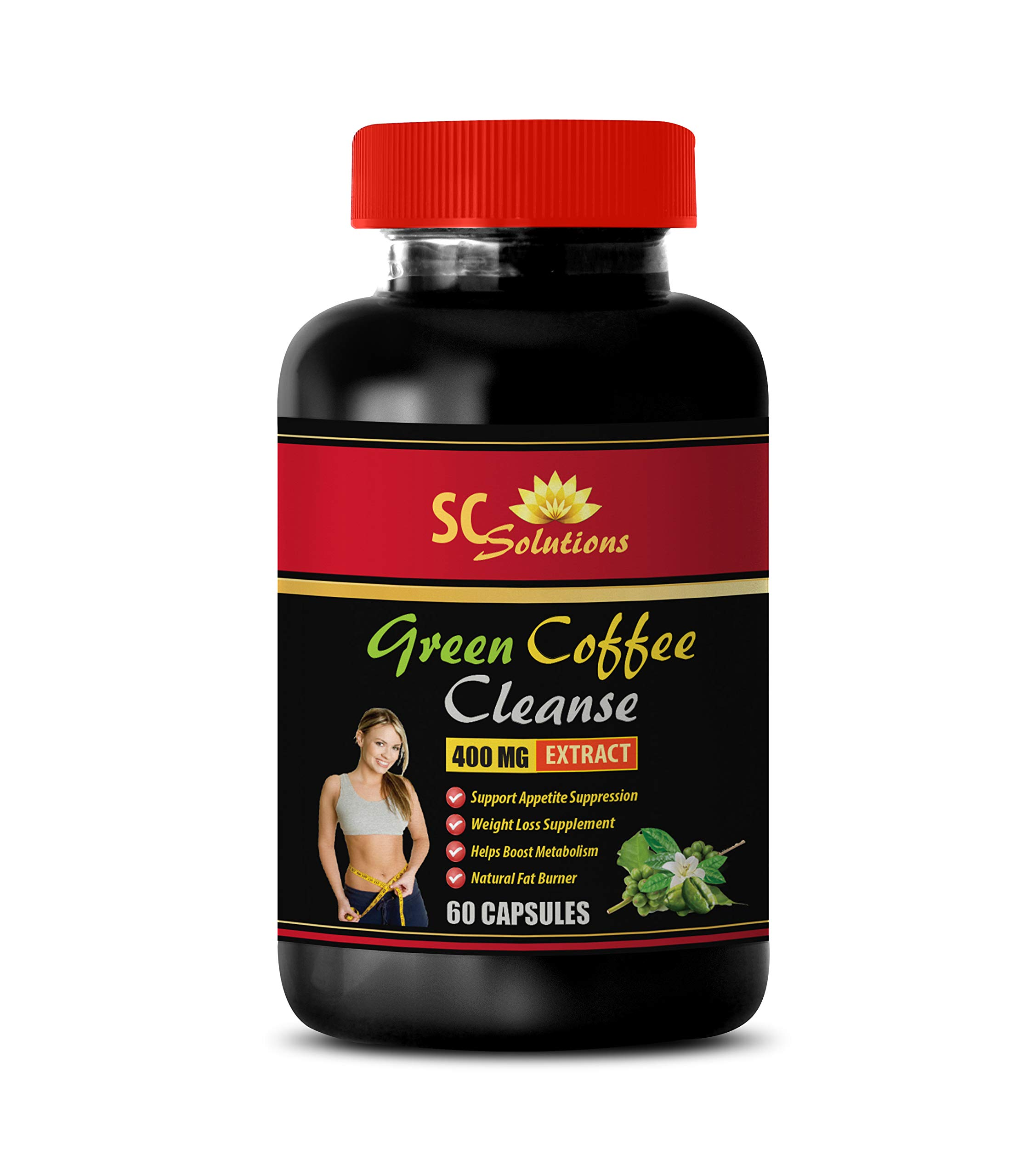 Skin Care Supplements - Natural Green Coffee Bean Extract Cleanse 400 mg - Green Coffee Bean Extract - 1 Bottle 60 Capsules