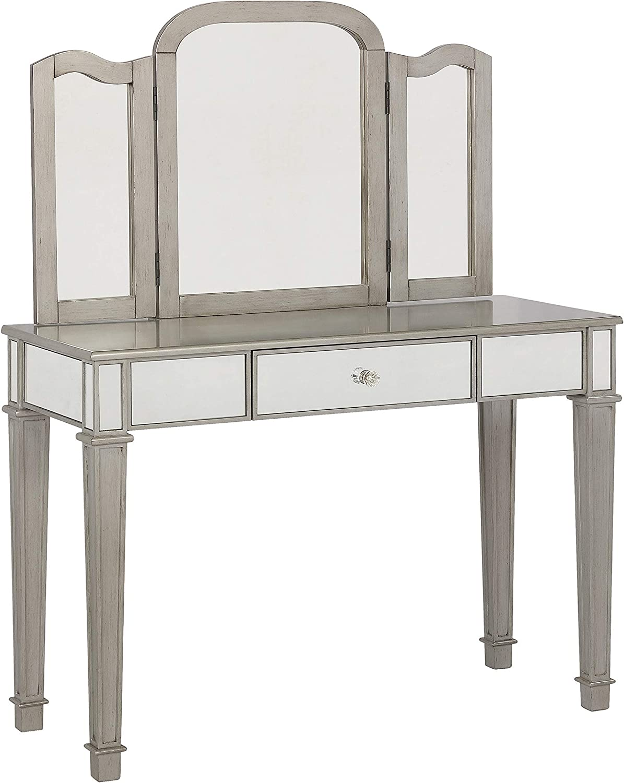 Coaster Home Furnishings Metallic Platinum and White 2-Piece Vanity Set, Grey