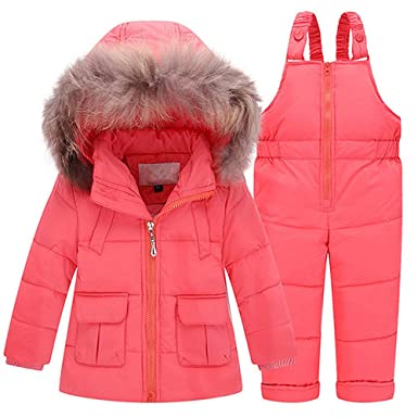 3ea6ee5fa Amazon.com  ZPW Kids Baby Snowsuit Winter Down Coat Snow Bib Pants ...