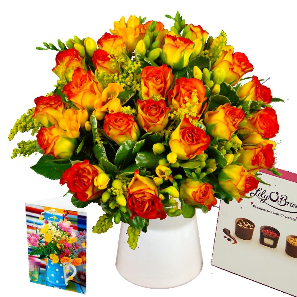 Clare Florist Rose and Freesia Gift Set with Fresh Flowers, Handwritten Card, Vase and Chocolates