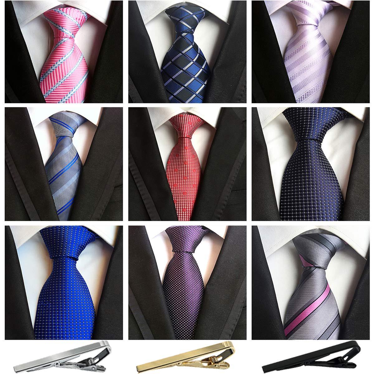Jeatonge Lot 6pcs Mens Ties and 3pcs Tie Clips, Men's Classic Tie Necktie Woven Jacquard Neck Ties (9-8)