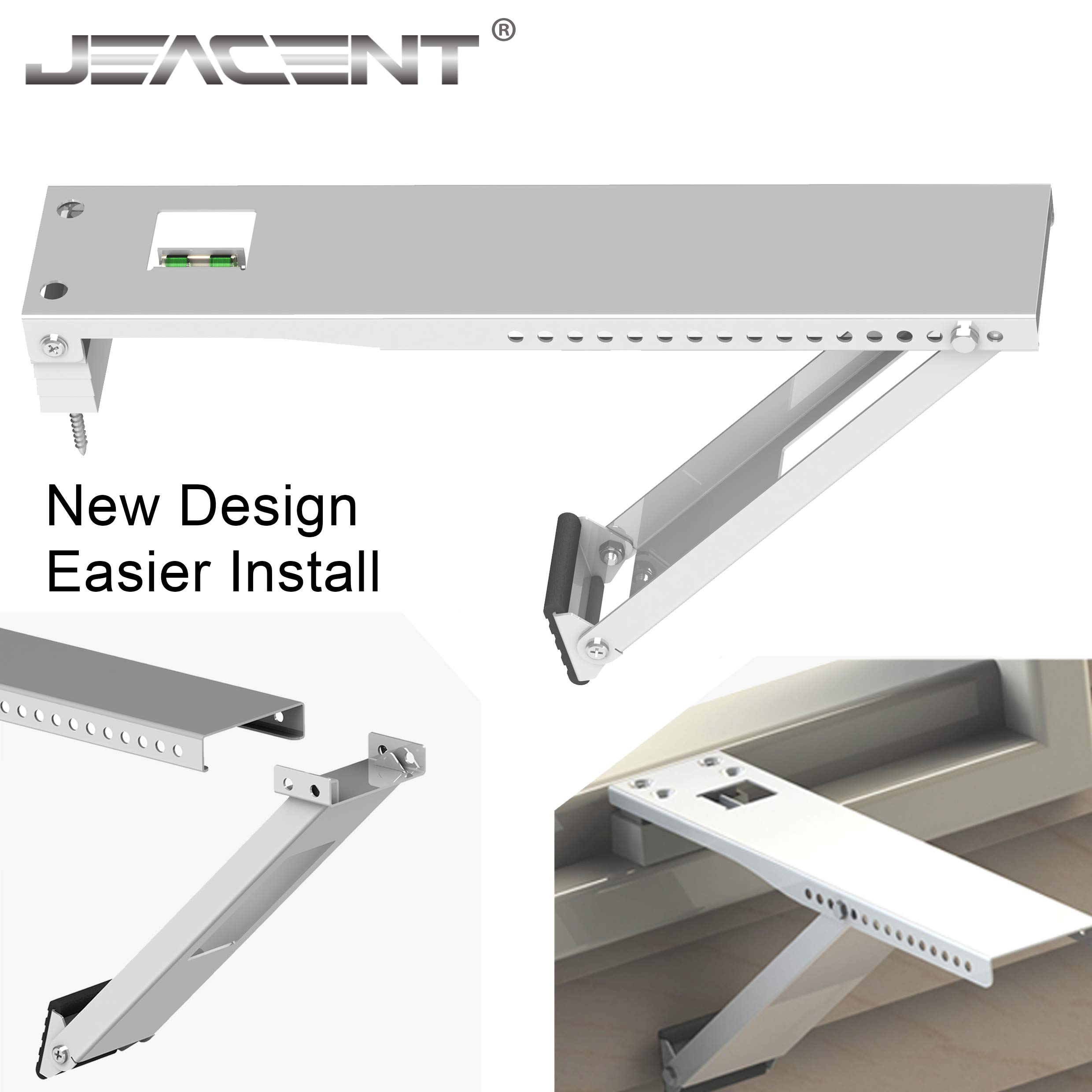 Jeacent Universal AC Window Bracket, Air Conditioner Support Bracket Heavy Duty, Up to 165 lbs - 17 inches Arm for Common A/C Units