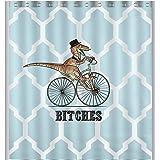 "Custom Dinosaur Bicycle Geometric Pattern Waterproof Shower Curtain Bathroom Decor, 72"" x 72"""