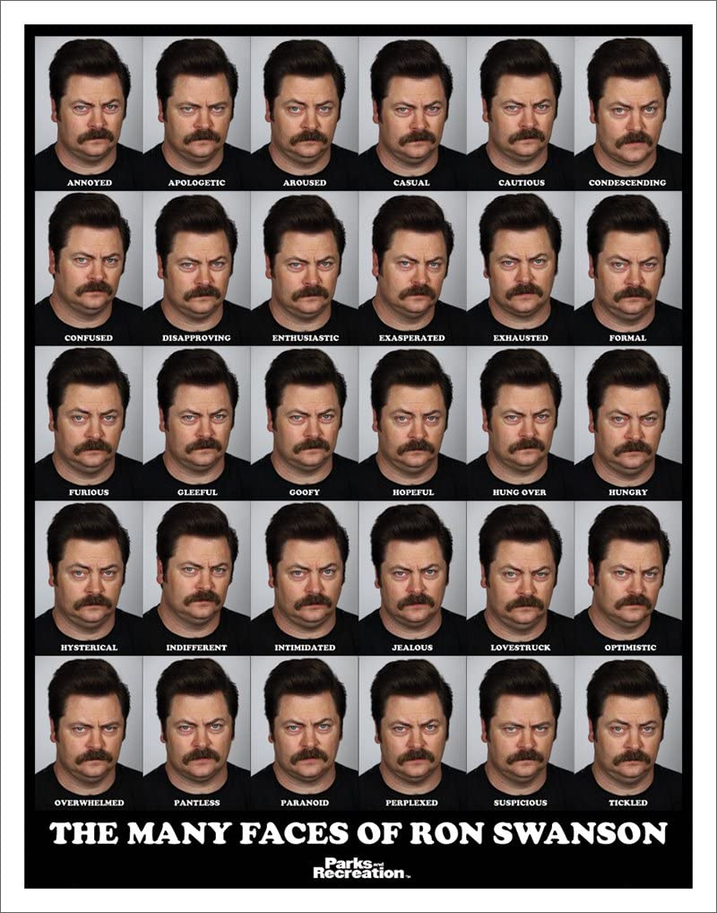 Culturenik Parks and Recreation Many Faces of Ron Swanson Workplace Comedy TV Television Show Poster Print, Unframed 11x14
