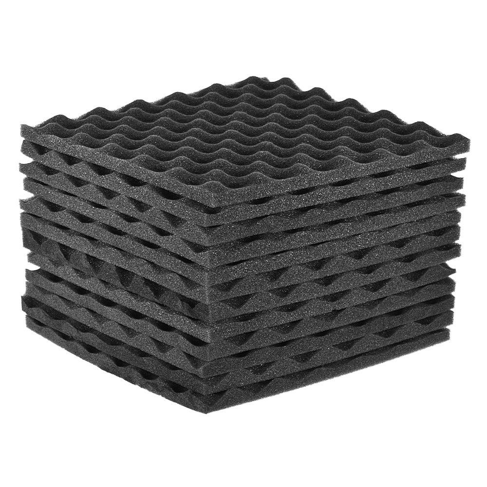 Festnight Soundproof Sponge, 12pcs Studio Acoustic Panels Sound Insulation Foams 30 x 30cm