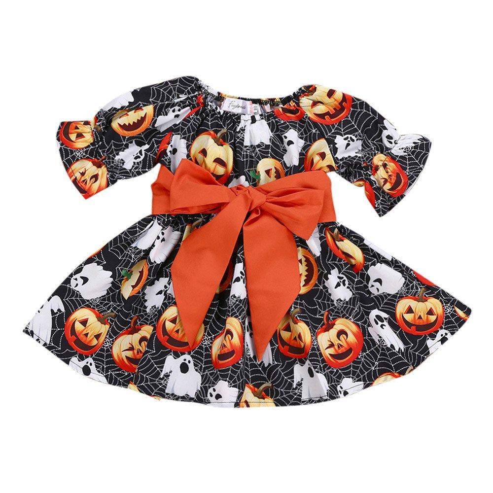 Honestyi BabyBekleidung Kleinkind Infant Baby Mä dchen Kü rbis Geist Print Kleider Halloween Kostü m Outfits (80, 90, 100, 110, 120, Schwarz)