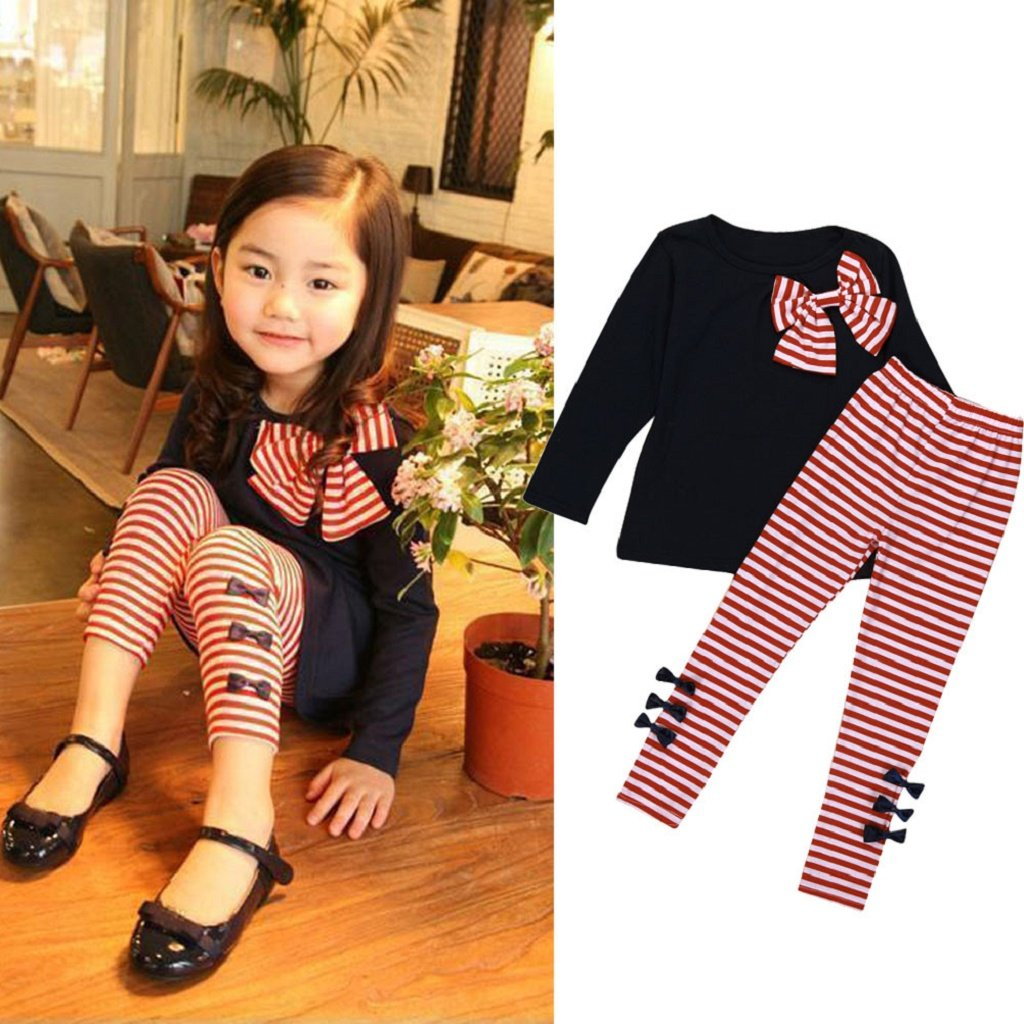 LUNIWEI Girls 2PCS/Set Outfits Bowknot Long Shirt + Striped Trousers