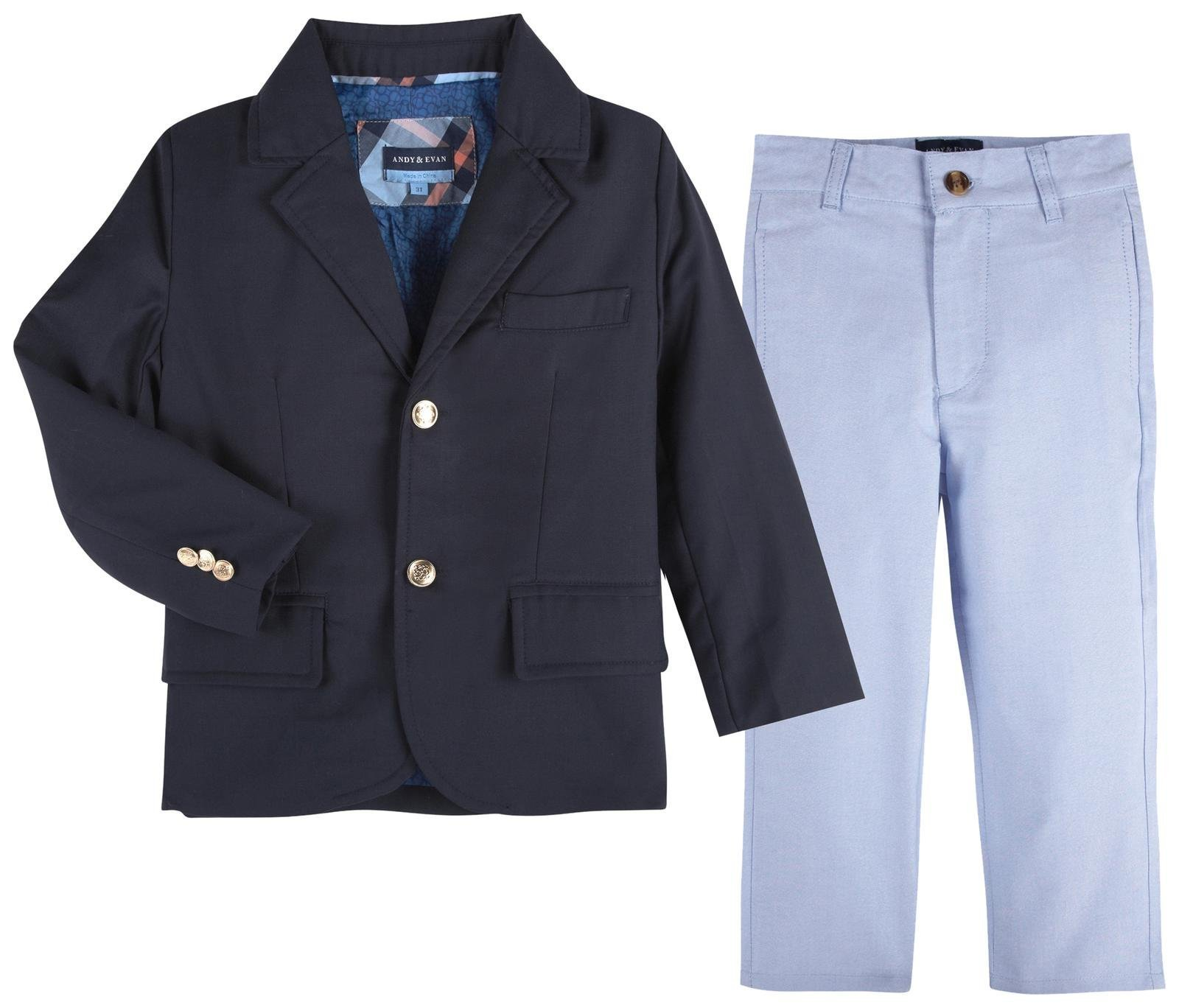 Andy & Evan Boys' Twill Blazer and Oxford Pant Set-Toddler, Navy, 4T