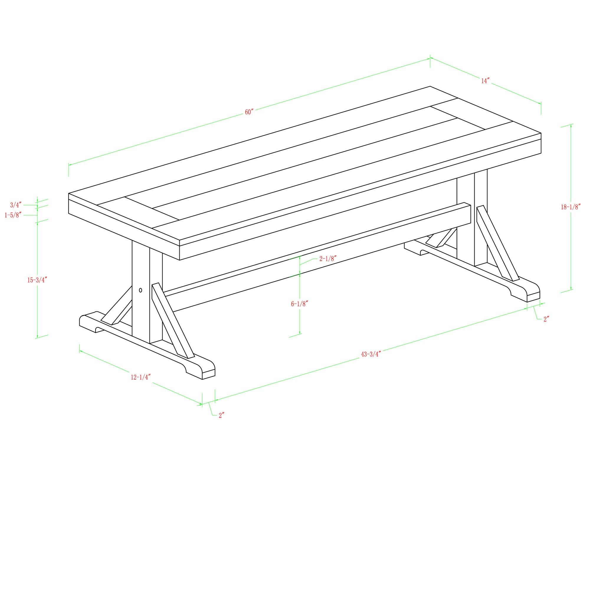 WE Furniture Solid Wood Brown Dining Bench by WE Furniture (Image #4)