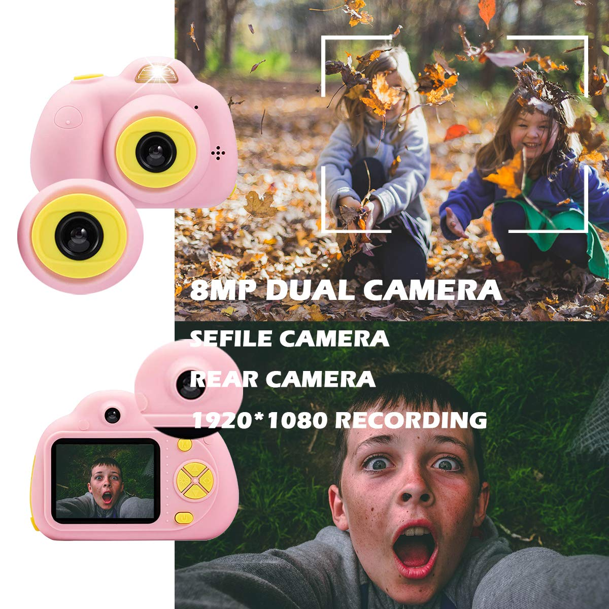 KIDOVE Kids Toys Fun Camera, Waterproof & Shockproof Child Selfie digital game Camcorder, 8MP 1080P dual camera Video Recorder, Creative Birthday Gifts for girls and boys, 16GB TF Card Included (Pink) by KIDOVE (Image #3)