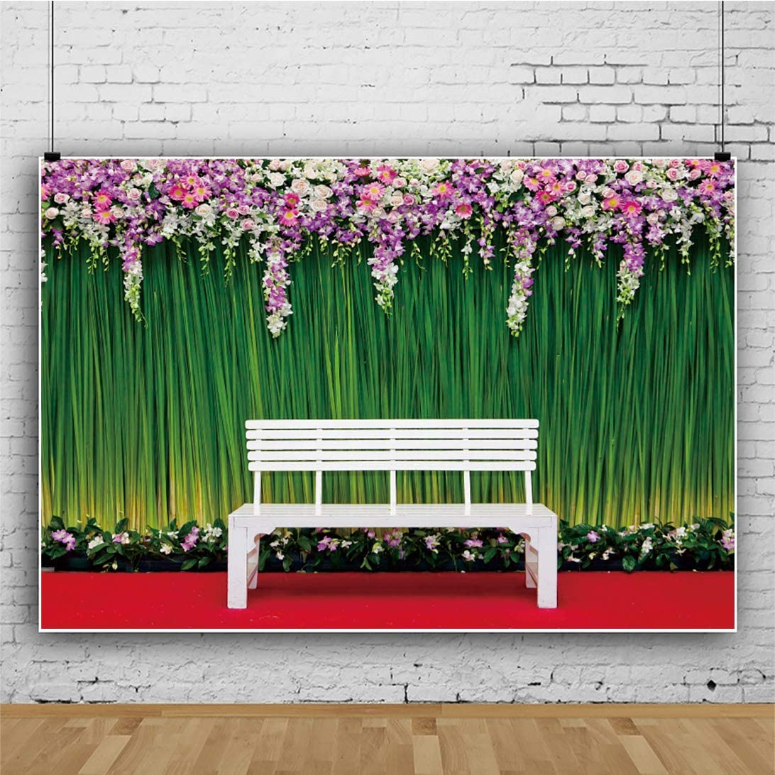 LFEEY 7x5ft Vinyl Parkbench Landscaped Photography Background Garden View White Chair Green Plants Colorful Flowers Backdrop for Newborn Baby Girls Adults Portrait Wallpaper Decor Photo Studio Props