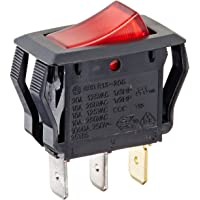 NSi Industries, LLC Rocker Switches, On Off Circut Function, SPST, 15/7.5 amps at 125/250 VAC, 0.625″ Width, 1.250″ Height, 0.828″ Depth, Red - 77150RQ