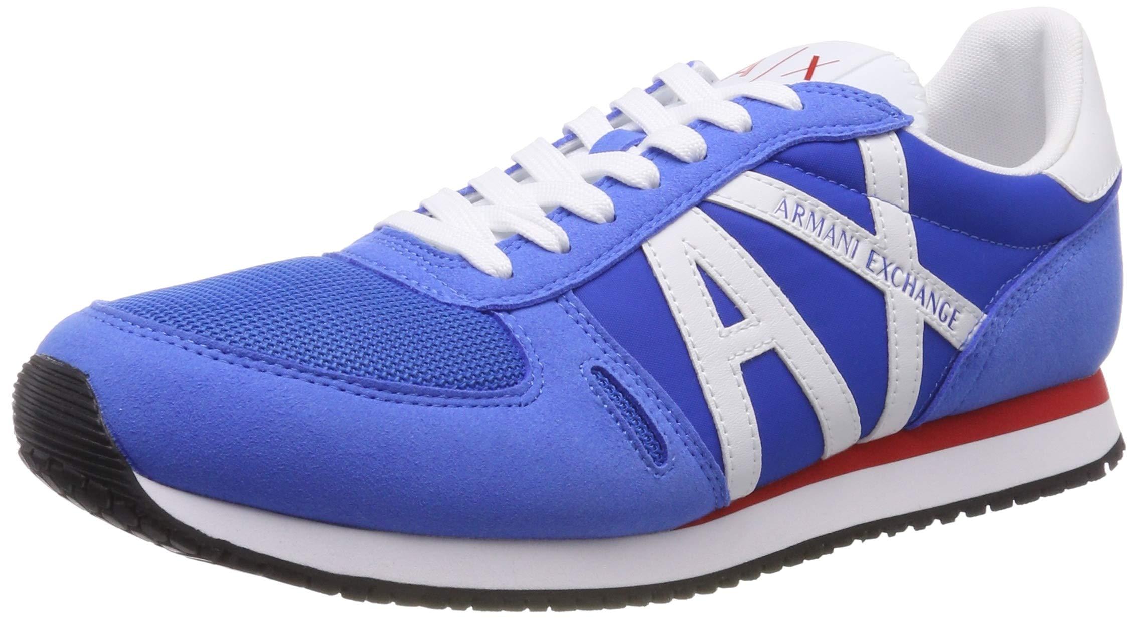 A X Armani Exchange Men's Lace Up Sneaker with Logo, Blue + White, 7 M US