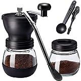 Manual Molinillo de Café,Molino de Café Manual con Ajustable Cerámica Burr de Carburo/Cuchara de paja/Dos Tarros de Vidrio Tr
