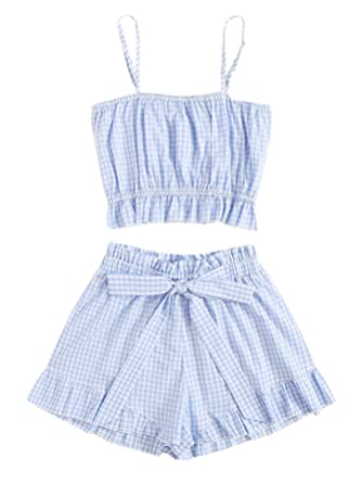d0a3bc0d0c97 SweatyRocks Women's Boho 2 Piece Outfits Knot Front Crop Top with Shorts  Sets (Small,
