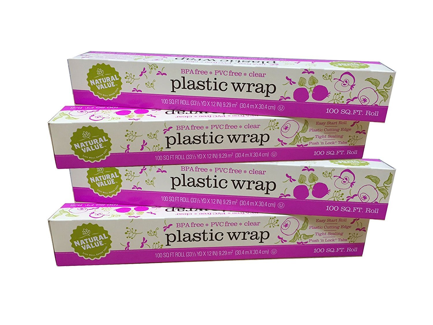 Natural Value Clear Plastic Wrap (Pack of 4 - total of 400 sq ft)