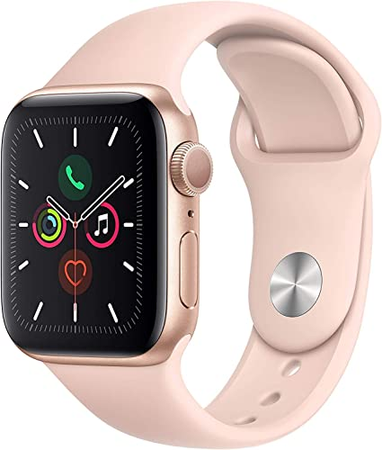Apple Watch Series 5 GPS, 40mm – Gold Aluminum Case with Pink Sport Band Renewed