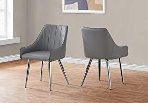 """Monarch Specialties Set of 2 Upholstered - Vertical Tufted with Armrest Dining Chairs, 33"""" H, Grey 