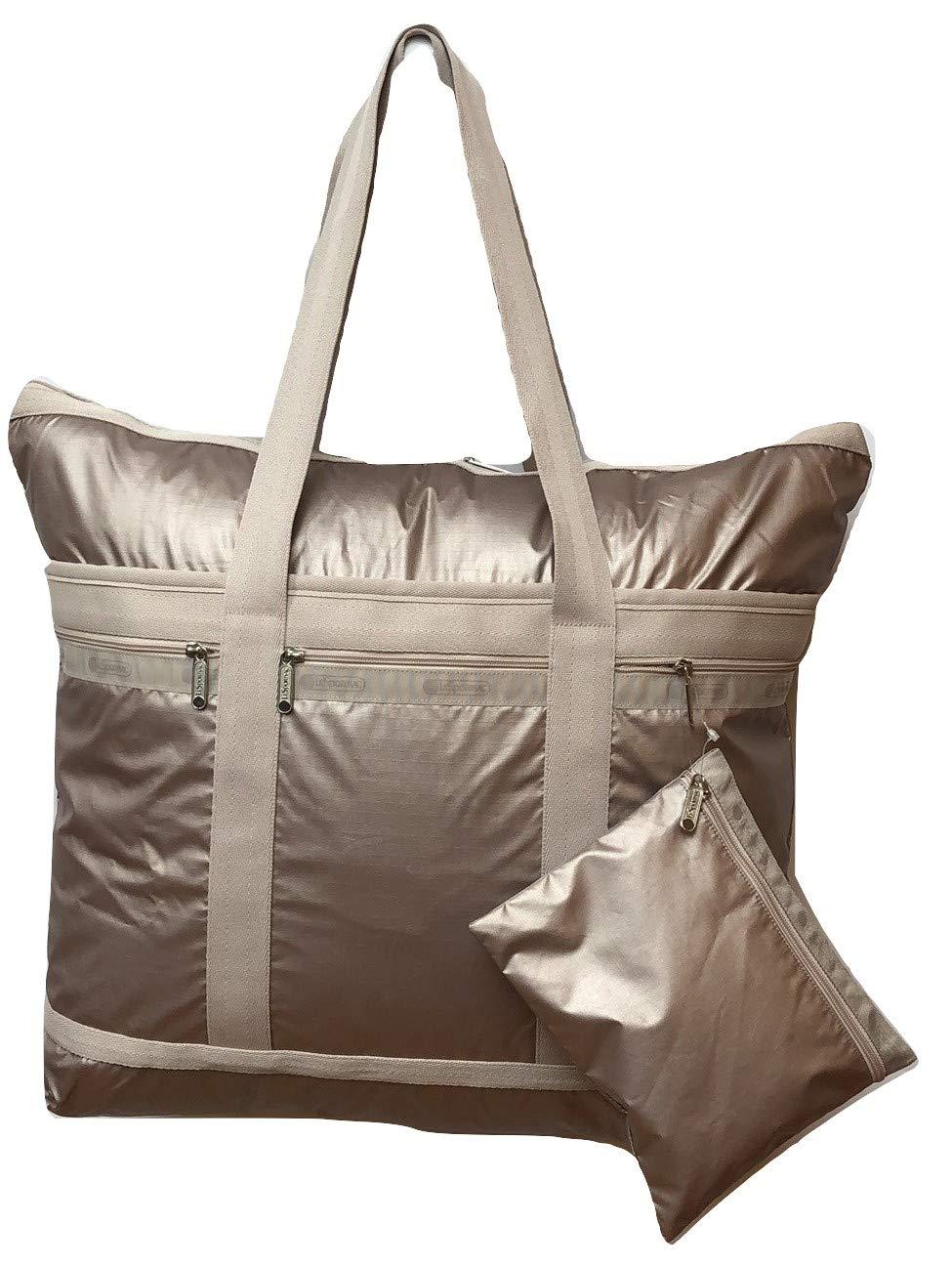 LeSportsac Moon Blush Lightning Travel Tote + Matching Cosmetic Bag (pearl iridescent rose gold)