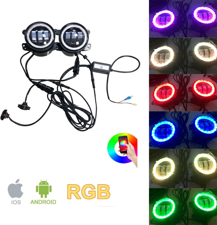 Sxma 4 Zoll 10 2cm Runde Led Nebelscheinwerfer Farbe Rgb Halo Ring Drl Led Nebelscheinwerfer Frontstoßstange Licht Bluetooth Steuerung Für 2007 2017 J Eep Wrangler Jk Jku Auto