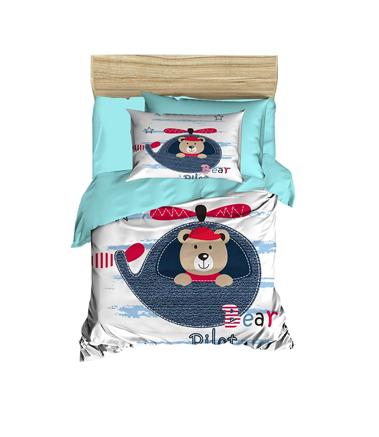 100% Cotton Baby Bedding Pilot Bear Themed Nursery Baby Bed Set, Toddlers Crib Bedding for Baby Boys, Duvet Cover Set with Comforter, 5 Pieces