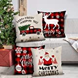 GENNISSY 4 Pack Merry Christmas Pillowcases-18 X 18 Inch Red and Black Slipcovers Holiday Decoration Santa Claus Pillow…