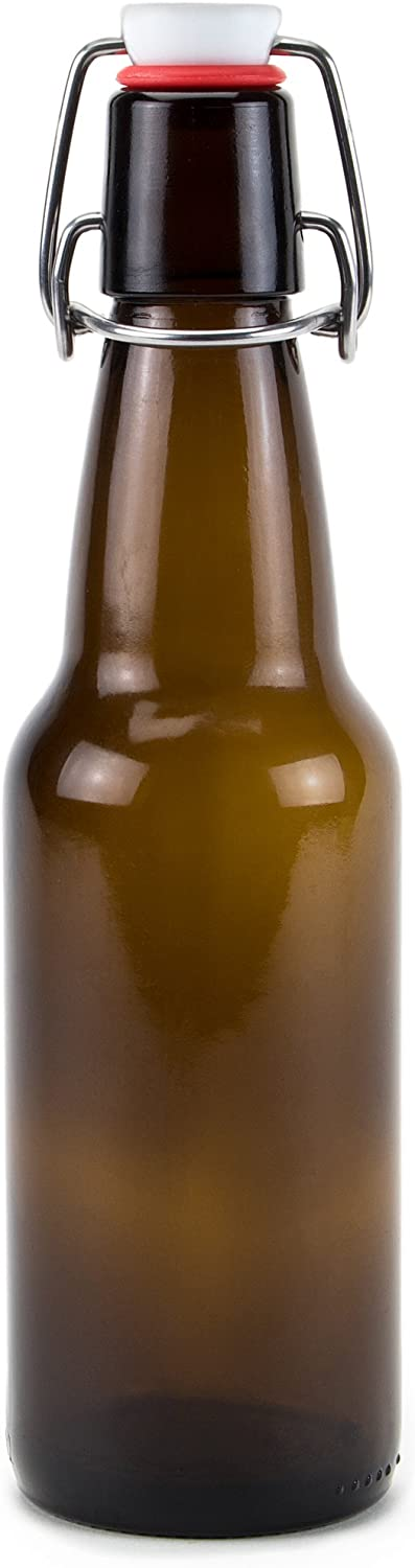 11 oz. Grolsch Glass Beer Bottle – Airtight Swing Top Seal Storage for Home Brewing of Alcohol, Kombucha Tea, Homemade Soda by Cocktailor (Single)