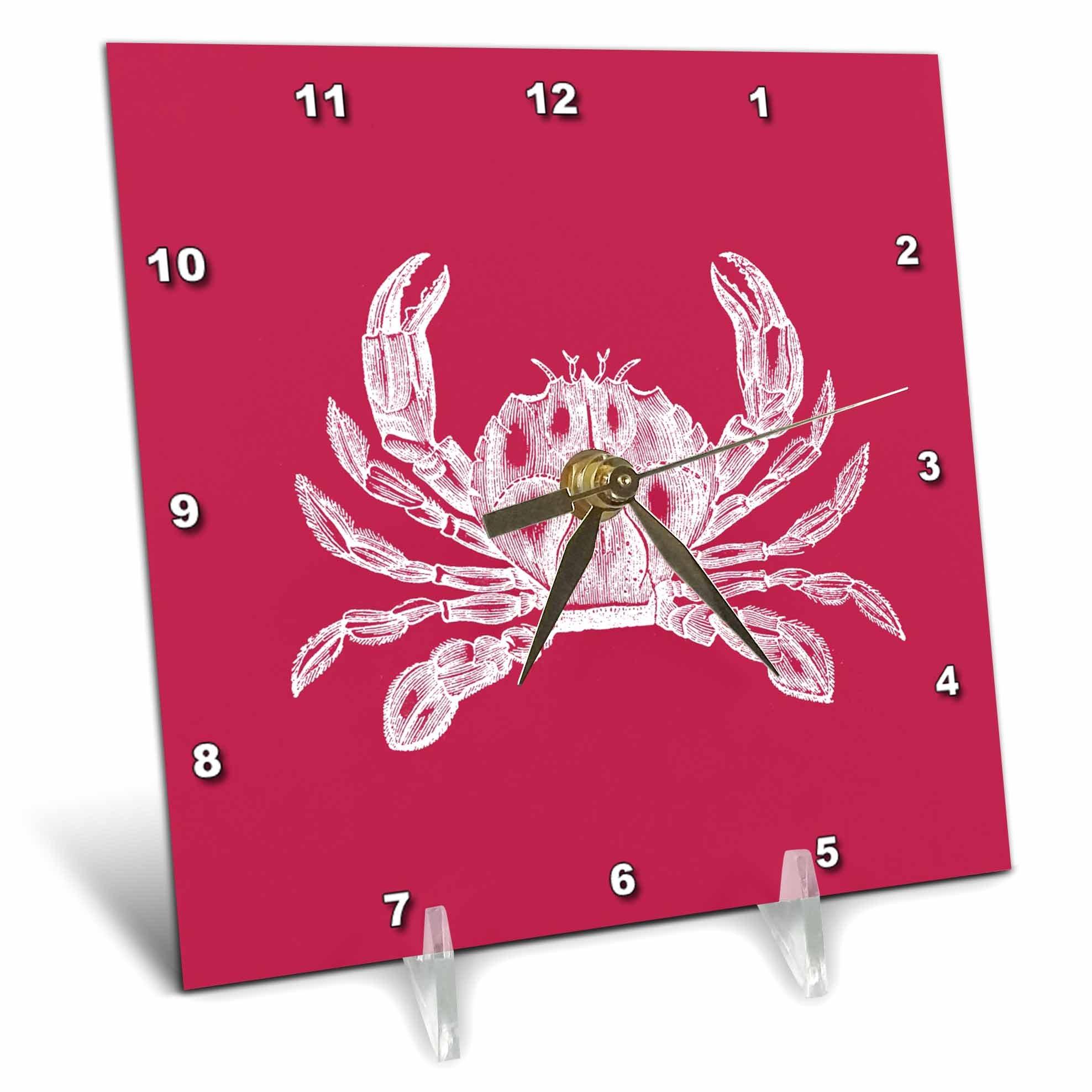 3dRose dc_164897_1 White Crab Etching on Red Beach Sea Ocean Nautical Crustacean Animal Desk Clock, 6 by 6''