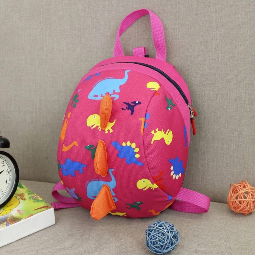 Hot Pink Wenjuan Baby Boys Girls Kids Dinosaur Pattern Backpack Toddler School Bag Double-strap Satchels
