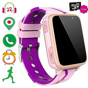 Niños Smartwatch Teléfono Música - Reproductor de Música MP3 Reloj de Pulsera para Niños Pantalla Táctil LBS Tracker Podómetro FM Bluetooth SOS ...