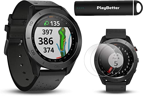 Garmin Approach S60 Premium w Leather Band Golf GPS Watch Power Bundle HD Screen Protectors PlayBetter Portable Charger 41,000 Courses, 010-01702-00