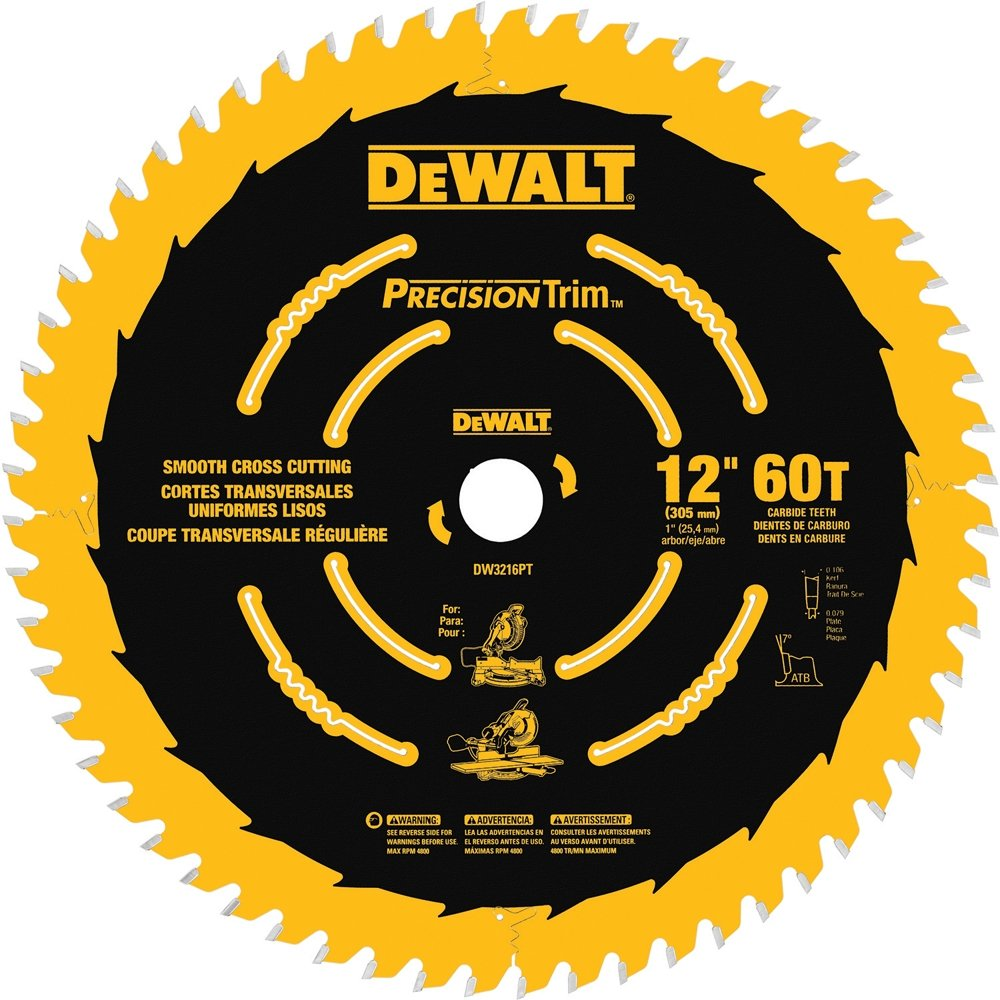 DEWALT DW3216PT Precision Trim 12-Inch 60 Tooth ATB Crosscutting Saw Blade with 1-Inch Arbor and Tough Coat Finish