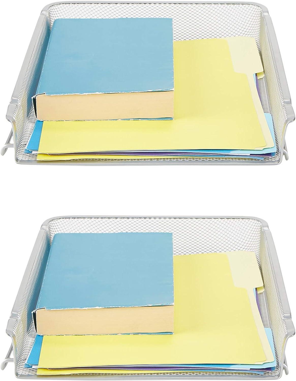 Mind Reader BSTACK2-SIL 2 Piece, Front Load, Stackable Letter Legal, Tray Mesh Desk, Document Holder, Magazine Storage, Desktop File Organizer, Silver