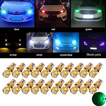 TUINCYN Bombilla LED T10 Verde 3014 27SMD Canbus Libre de Error Cuña Luz Usada para Sidemarker ...