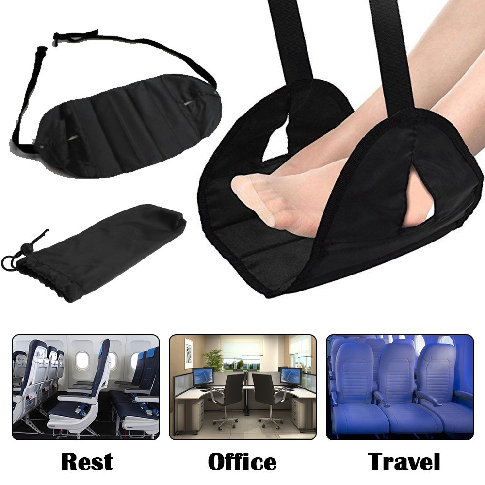 Airplane Footrest Foot Rest for Airplane Travel Office, Portable Hammock Footrest with Memory Foam Plus Sleep Mask and Earplugs Travel Accessories Portable Carry-on for Sleep Relax (Aterrimus)
